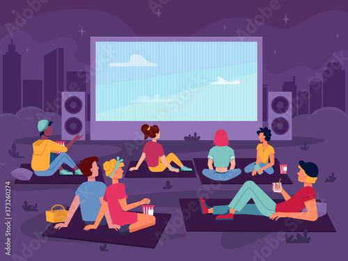 Cinema open air movie in park, night outdoor, vector people watch screen, flat cartoon background Fototapeta