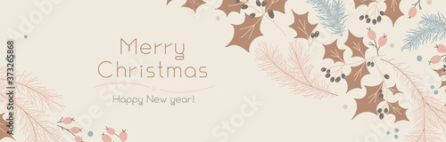 Fotografering Christmas banner template on light background