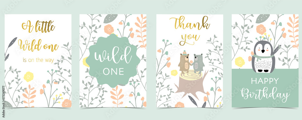 Fototapeta Collection of pink boho cards set with bear,penguin.Vector illustration for birthday invitation,postcard and sticker.Editable element