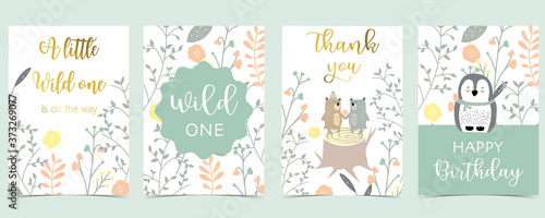 Obraz Collection of pink boho cards set with bear,penguin.Vector illustration for birthday invitation,postcard and sticker.Editable element - fototapety do salonu