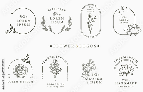 Foto Beauty occult logo collection with geometric,rose,moon,star,flower