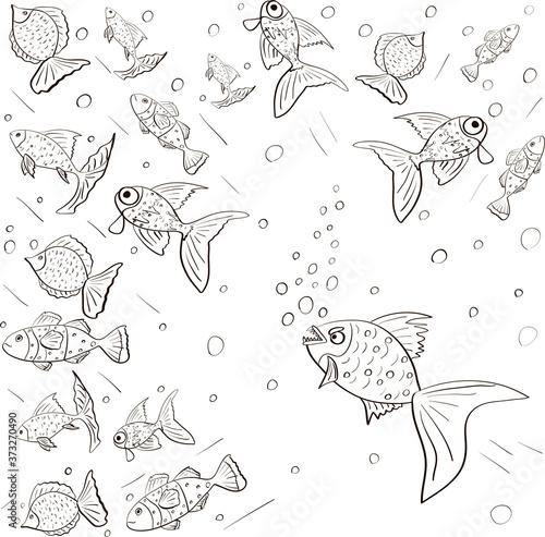 Fotografie, Obraz Piranha chasing fish. Black and white hand drawn vector sketch.