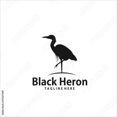 Cuadros en Lienzo black crane stork heron egret bird silhouette vector logo icon