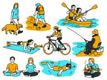 Various Activities People Having Recreation, Walk The Dog, Hiking Canoeing, Cycling, Go Fishing, Meditation Or Exercise At Home, Scuba Diving, Playing Guitar. Outline, Thin Line Art, Linear Style.