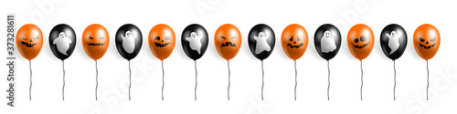 happy halloween orange and black balloons with scary faces and  ghosts set on wh Canvas Print