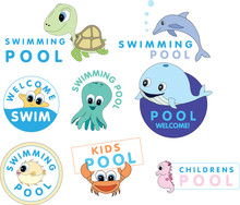 Swimming Pool Cartton Characters