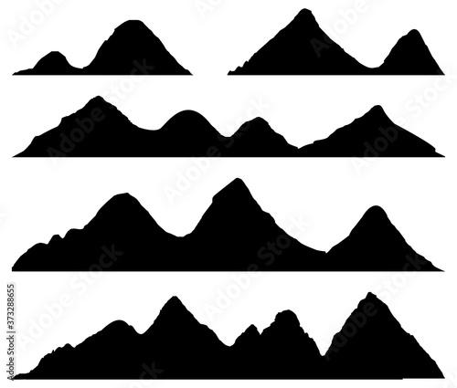 Set Mountains silhouettes Fototapet