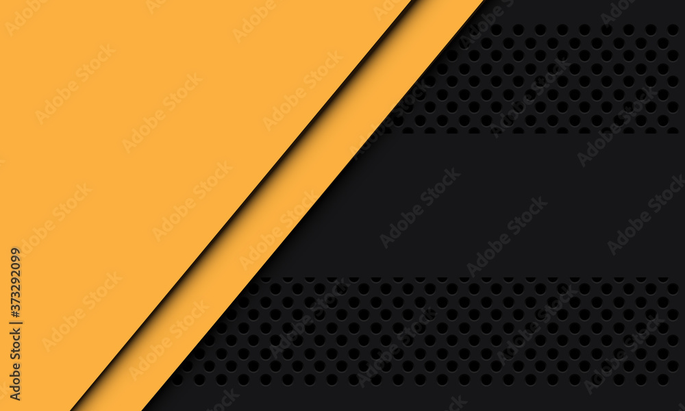 Fototapeta Abstract yellow blank space overlap on dark grey circle mesh design modern futuristic background vector illustration.
