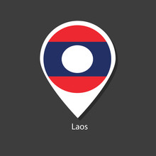Laos Flag Vector Marker With Flags.