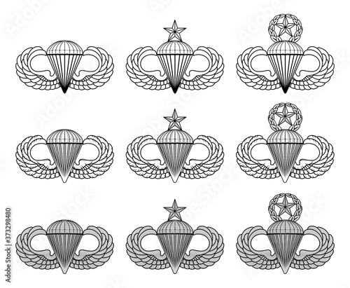 Fotomural Parachutist Badge - Jump Wings - Vector is an illustration that includes the basic, senior and master parachutist insignia in three styles
