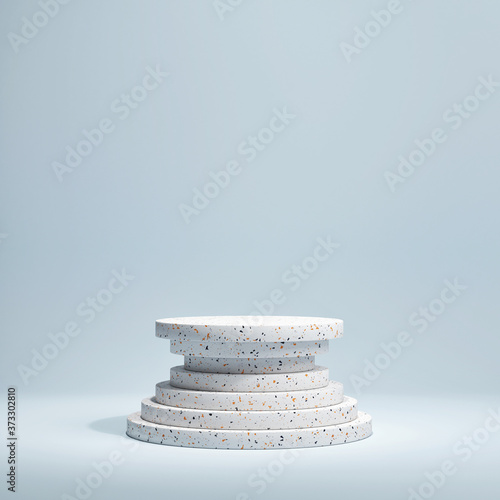 Mockup a showroom with a podium for product presentation, 3d rendering, 3d illustration