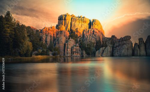 Obraz na plátne Fantastic Sunrise over Sylvan Lake, South Dakota in Custer State Park