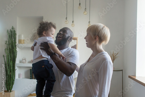 happy family at home, different nationalities Canvas Print