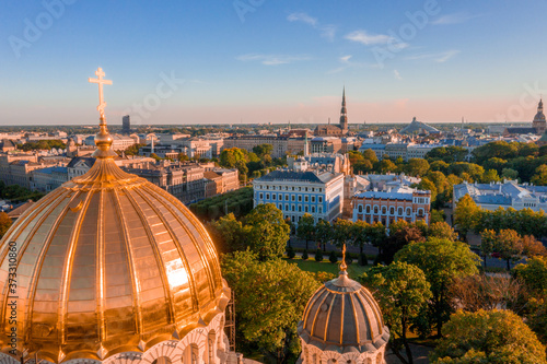 Fotografija Aerial view of the cathedral of the Nativity of Christ in Riga, Latvia