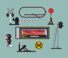 Scale Model Railway Hobby Items Illustration In Flat Style Featuring Simplified Model Railroad Layout, Bumper Buffer, Signal Lights, Grade Crossing Gate, Switch Post And Locomotive In Original Box