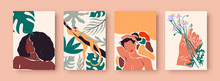 Abstract Women Portrait Set, Trendy Diverse Woman Illustration Collection With Tropical Nature Decoration And Wild Jungle Monkey. Wall Print Template For Fashion, Feminist, Or Beauty Concept.