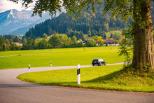 Car In Mountains Of Bavaria, Germany, Europe