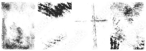 Foto Set of the vector grunge textures isolated on white background.