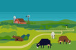 Peaceful rural cattle farm landscape with farm barn, silo and dairy cows in grassland meadows environment