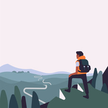 Person Standing On Verge Of Mountain Observing Road Ahead Vector Illustration With Copy Space