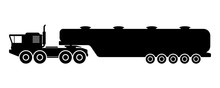 Heavy Truck Tractor Tanker Icon. Side View. Black Silhouette. Gasoline Tanker. Vector Flat Graphic Illustration. The Isolated Object On A White Background. Isolate.