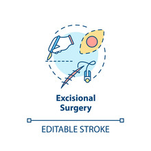 Excisional Surgery Concept Icon. Skin Lesions. Tumor Removal. Melanoma Treatment. Excisional Biopsy Idea Thin Line Illustration. Vector Isolated Outline RGB Color Drawing. Editable Stroke