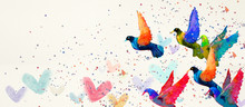 Birds. Watercolor Background, Design Element