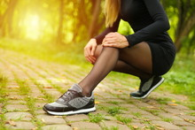 Woman Sneakers Outdoor Close Up