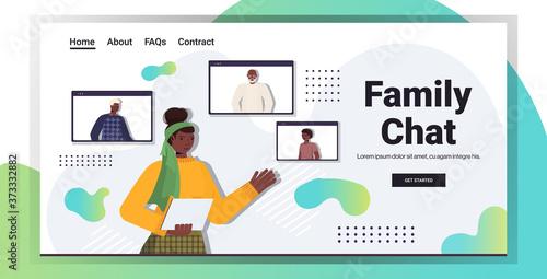 Fotografie, Obraz african american woman having virtual meeting with family members in web browser