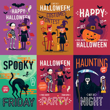 Set Of Quality Vector Poster, Banner Or Flyer Halloween Templates Featuring Kids Wearing Costumes And Other Halloween Themed Items, Characters And Objects