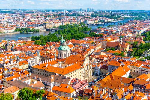 Fotografie, Obraz St Nicholas Churh with monumental baroque dome in Lesser Town of Prague, Czech R