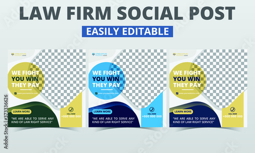 Law firm social media post layout banner templates premium vector sets digital marketing for lawyers Fototapet