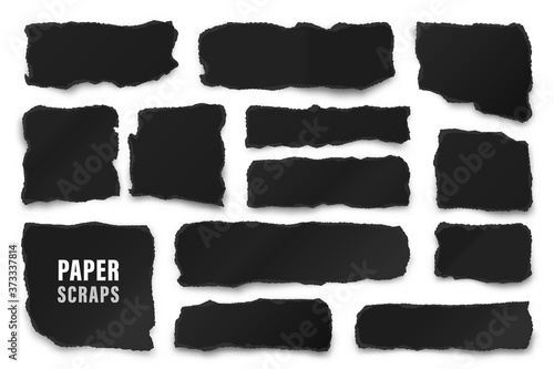 Obraz Ripped black paper strips. Realistic crumpled paper scraps with torn edges. Shreds of notebook pages. Vector illustration. - fototapety do salonu