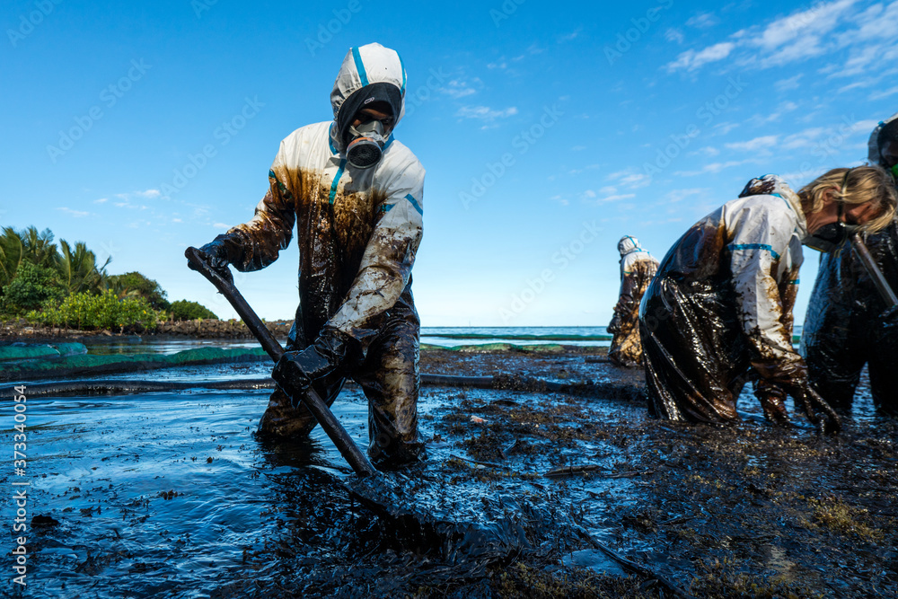 Fototapeta Volunteers clean the ocean coast from oil after a tanker wreck. Mauritius