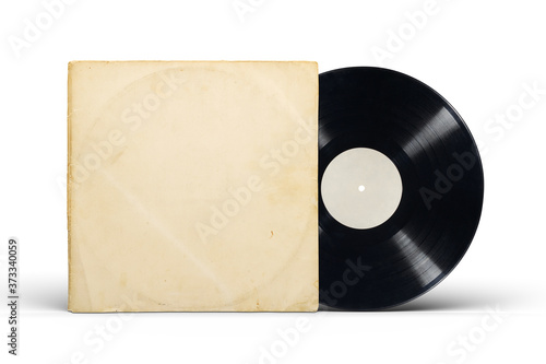 Cuadros en Lienzo Paper cover and vinyl LP record isolated on white.