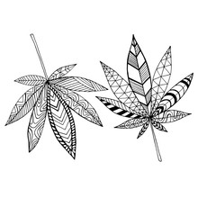 Black And White Abstract Doodle Style Psychedelic Leaves Marijuana Coloring Page, Isolated On White Background.