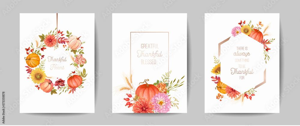 Fototapeta Set of Thanksgiving Day greeting, invitation card, flyer, banner, poster template. Autumn pumpkin, flower, leaves, floral design elements. Vector illustration
