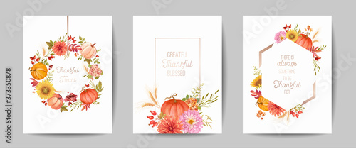 Obraz Set of Thanksgiving Day greeting, invitation card, flyer, banner, poster template. Autumn pumpkin, flower, leaves, floral design elements. Vector illustration - fototapety do salonu