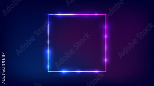 Fotografia, Obraz Neon square frame with shining effects