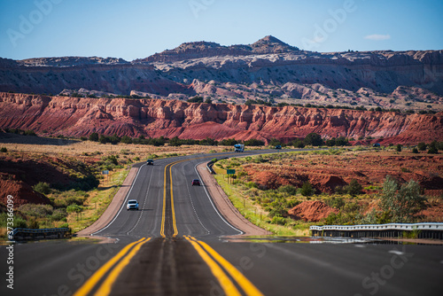 Fototapeta Monument Valley Road. Highway on travel vacation.