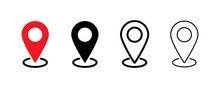 Pin Location Icon. Vector Isolated Element. Set Of Location Pointer Icons. Stock Vector.