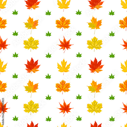 Seamless pattern with autumn maple leaves. Vector illustration. Canvas Print
