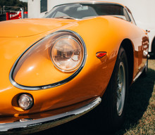 Classic Yellow Race Car Front View