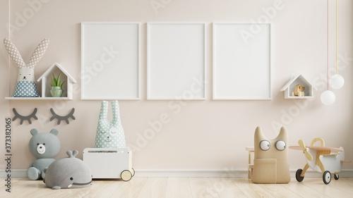 Fotografia Interior mockup, kids room, wall frame mockup.