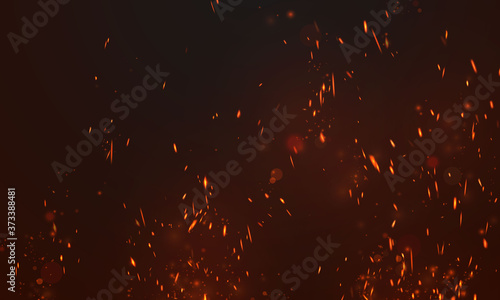 fire flames Burning red hot sparks realistic abstract background Fotobehang
