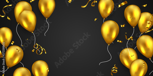 Celebration frame party banner with Gold balloons background Fototapete
