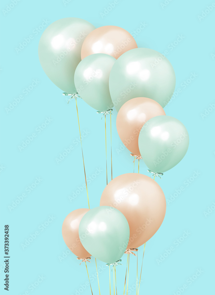 Fototapeta Festive background with helium balloons. Celebrate a birthday, Poster, banner happy anniversary. Realistic decorative design elements. Vector 3d object ballon, pink and orange color.