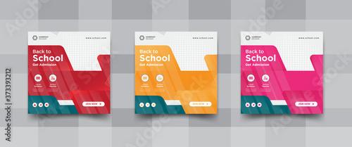 Back to school and get admission social media templates design Fototapet
