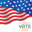 United States of America Presidential Election 2020 Vector illustration. USA Presidential Election 2020 Vector banner background design. 2020 US Presidential Election with America Flag Vector Design.