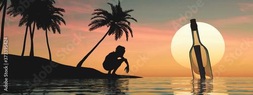 Banner con la silueta de un náufrago en la playa de una isla desierta con palmer Fototapet